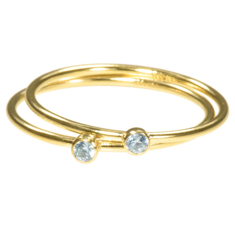 uGems 2 14K Gold Filled Aquamarine-Color CZ Stacking Rings Size 8