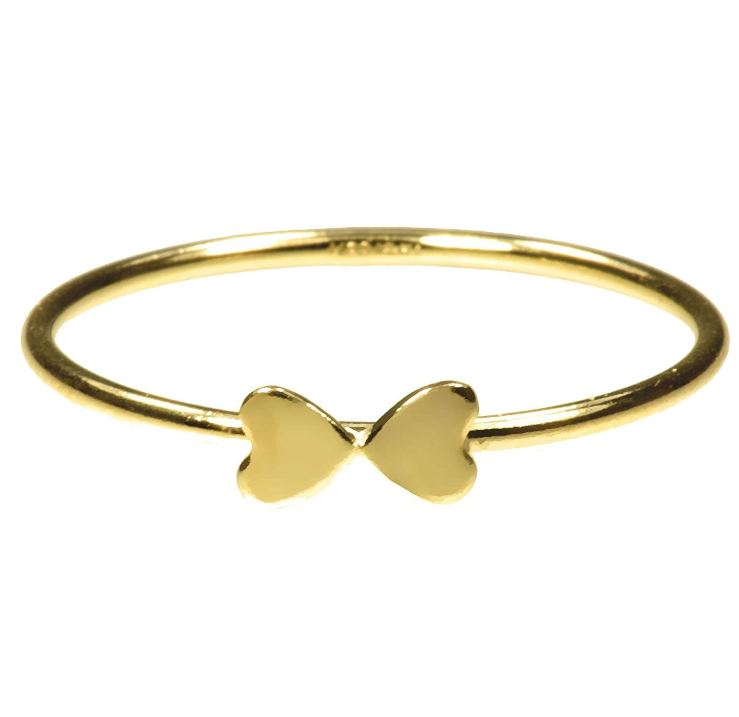 uGems 14K Gold Filled Double Heart Stacking Rings Assorted Sizes