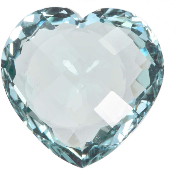 Simulated Aquamarine Heart Checkerboard 19mm