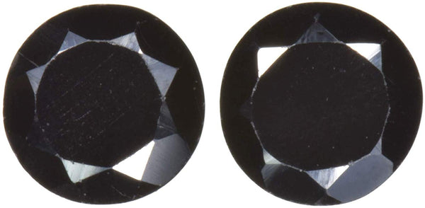 2 Black Spinel Rounds Unset Faceted 7mm (2)
