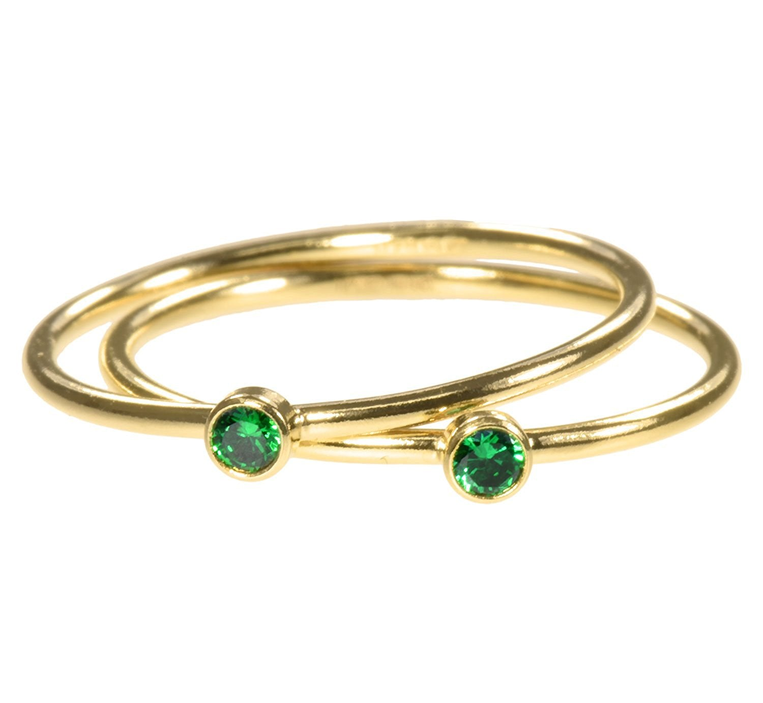 uGems 2 14K Gold Filled Green CZ Stacking Rings Size 5