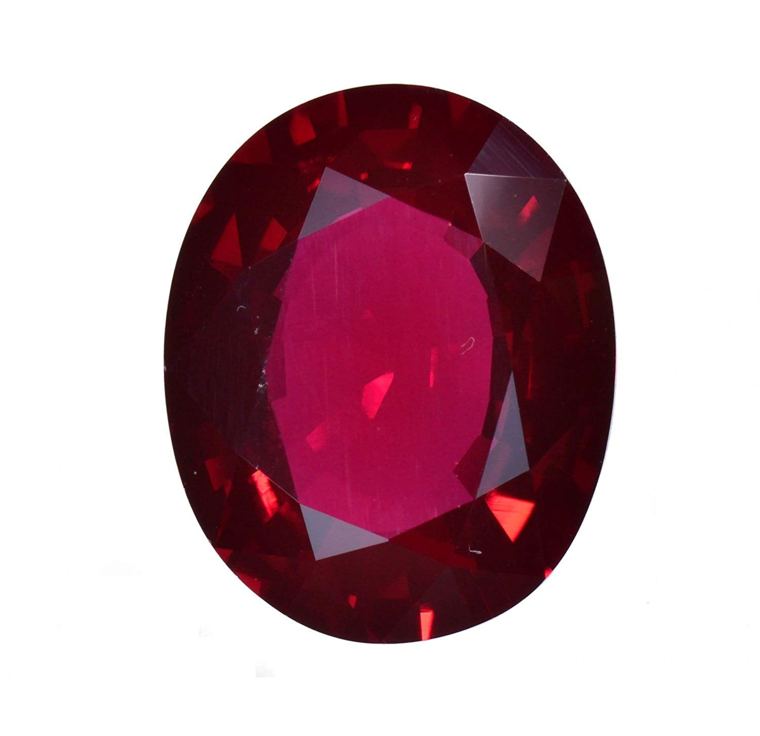 Synthetic Ruby Large Oval Facet Medium Red (15 Millimeters)
