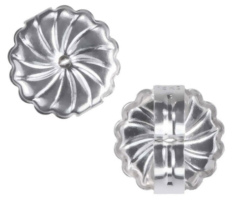uGems 18K White Gold Jumbo Swirl Earring Backs Jumbo 9mm (1 Pair)
