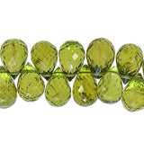 Peridot Briolettes Drops Genuine Gemstone Facet Beads 7mm-8mm High (10)