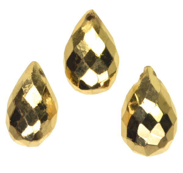 uGems Gold Pyrite Briolette Drop Faceted Beads Mystic ~10mm (Qty=3)