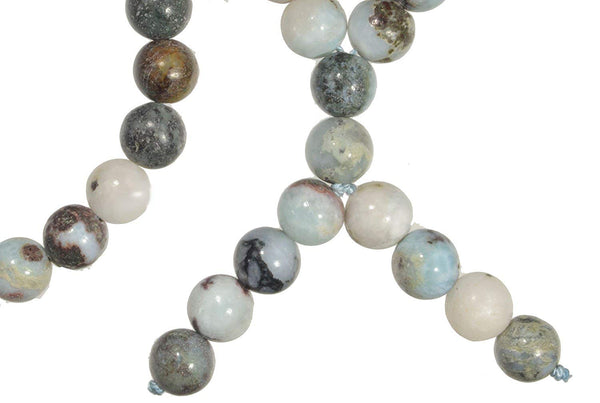 uGems Matrix Larimar Mala Necklace with 108 + 10 Prayer Beads 8mm