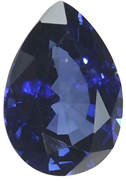 uGems Blue Lab Sapphire Faceted Loose Pear 3 Carats