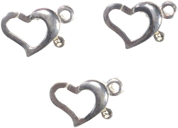 Sterling Silver Heart Trigger Clasp 9mm x 7.5mm Tiny (3)