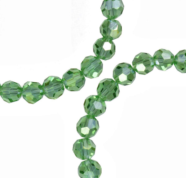 Green Peridot Ab Crystal Round Beads Strand 6mm 16""