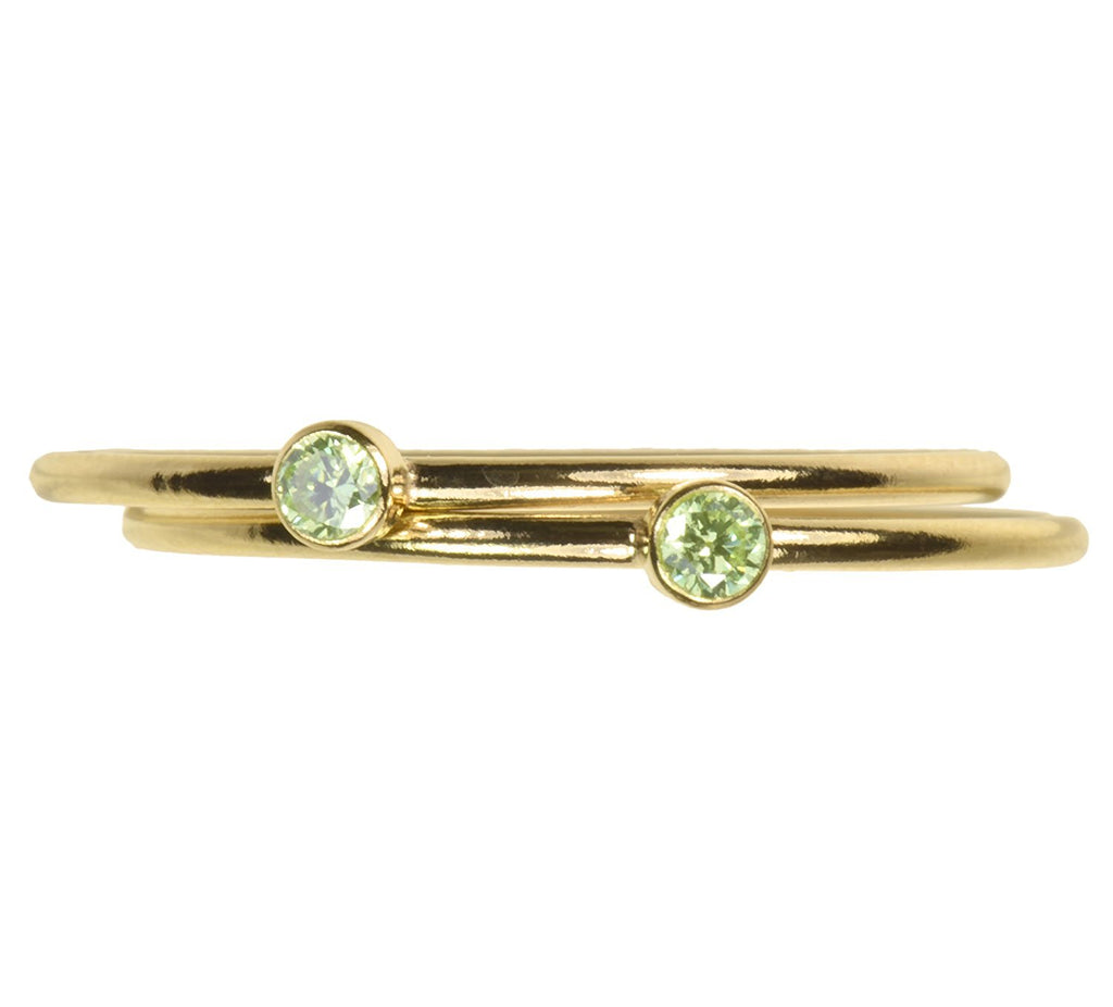 uGems 2 14K Gold Filled Lime Green CZ Stacking Rings Size 7