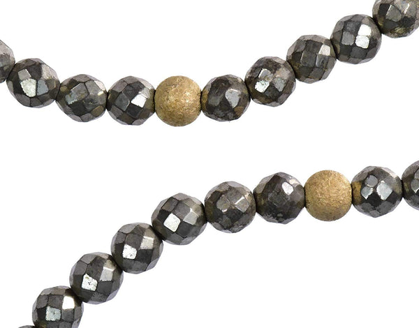 uGems Stretch Pyrite Gold Filled Sparkle Beads Necklace or Bracelet 36 Inch 3mm