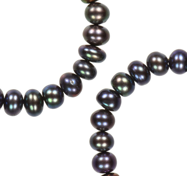 Peacock Freshwater Cultured Pearl Rondelle Strand Medium
