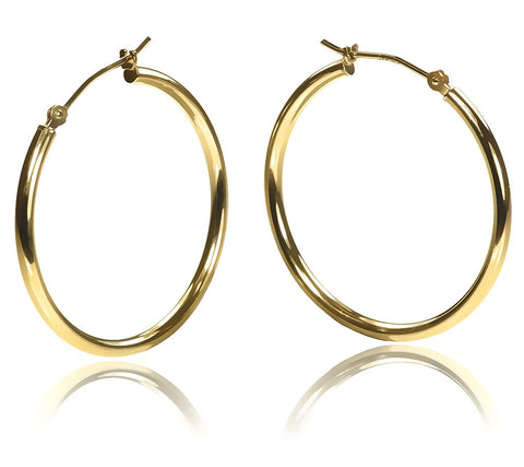 14K Gold 35mm X 2mm Tube Hoop Earrings