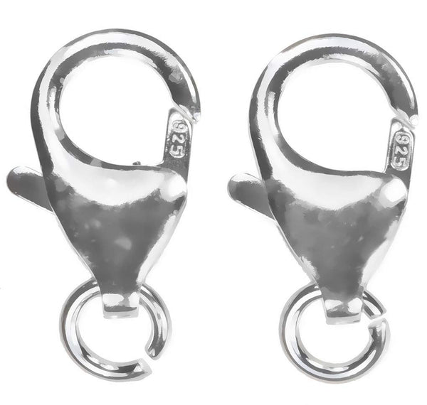 uGems 3 Sterling Silver Large Trigger Clasps with Ring 7x12mm