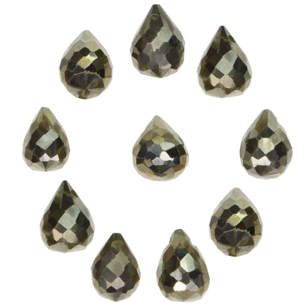 uGems Pyrite Briolette Drop Faceted Beads Natural Genuine 5mm-7mm (Qty=10)