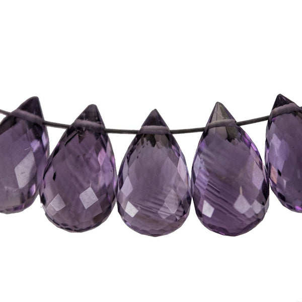 Amethyst Drop Briolette Facet Beads About 9mm (Qty=10)