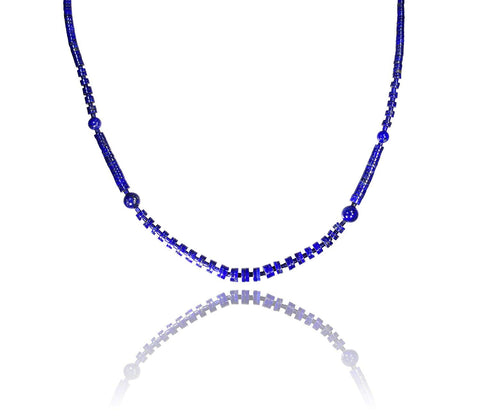 Lapis Lazuli Heishi and Round Graduated Necklace 18 Inch