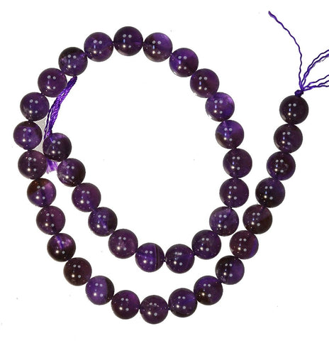Amethyst 10mm Round Smooth Beads Deep Purple Strand 15.5