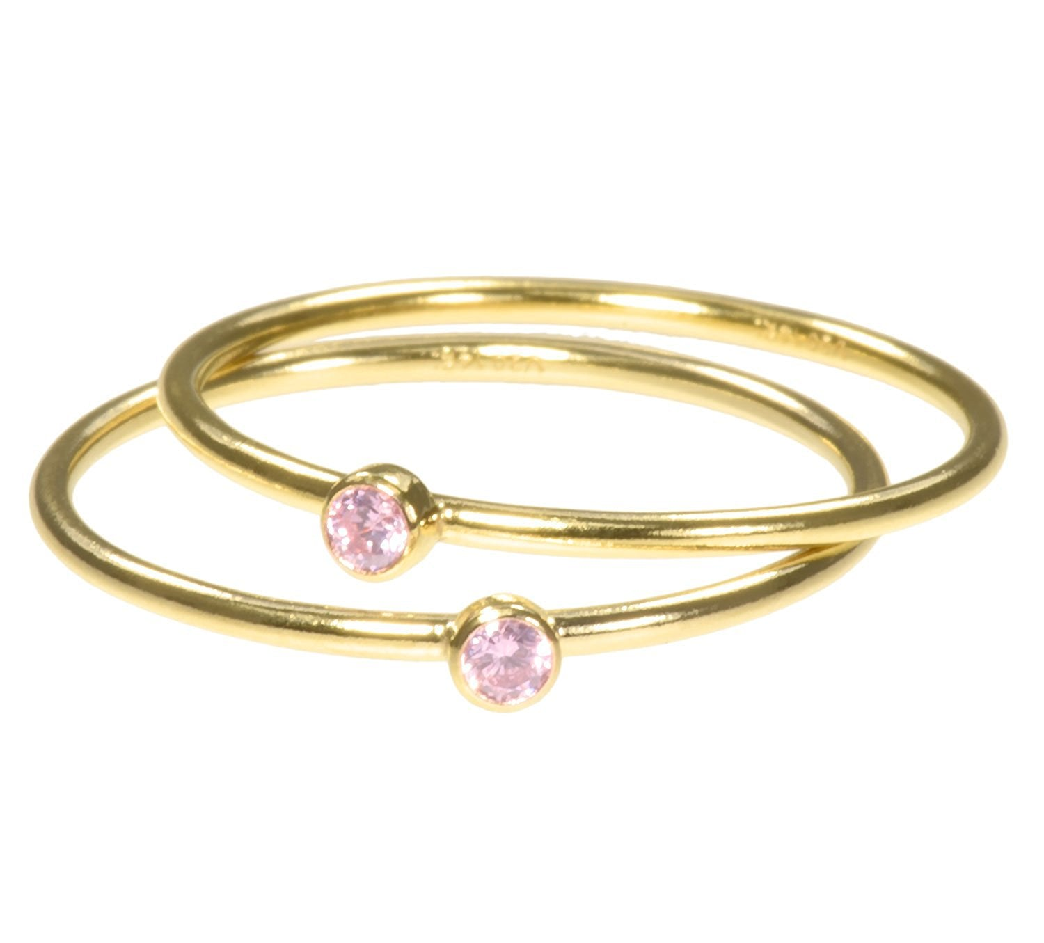 uGems 2 14K Gold Filled Pink CZ Stacking Rings Size 7