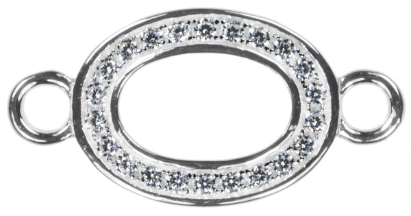 Sterling Silver Oval with CZ Connectors Qty=1
