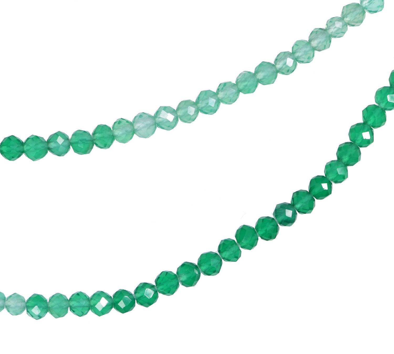 Shaded Green Onyx 2.25mm Faceted Rondelle Beads Strand