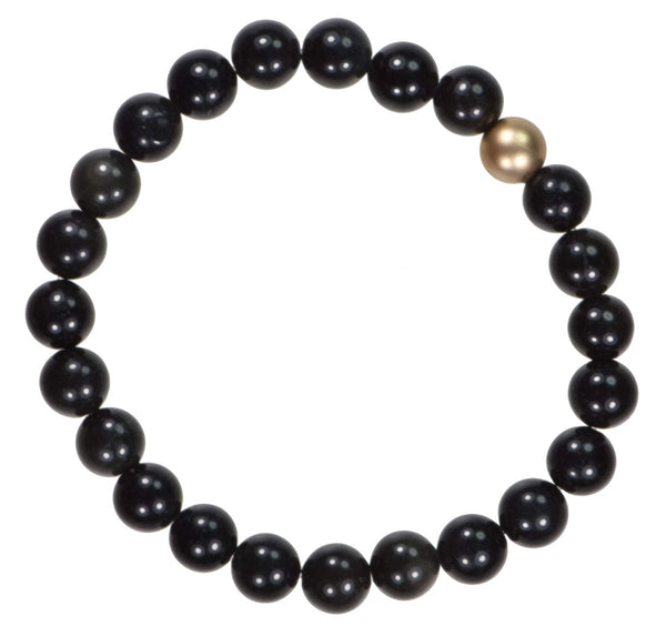 uGems Black Obsidian with Florentine Gold Fill Bead Stretch Bracelet 8mm