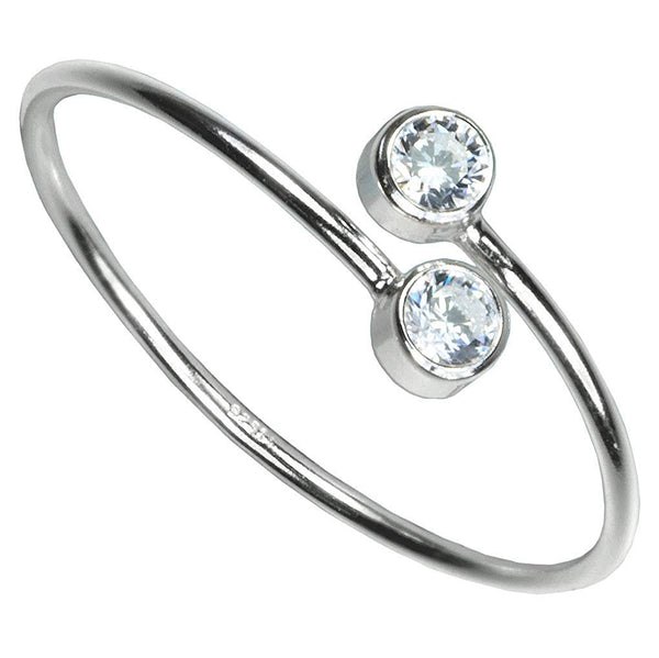 Adjustable Sterling Silver White 2-CZ Ring Size 6