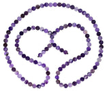 Stripe Amethyst Beads Mala Necklace 32 Inch 8mm