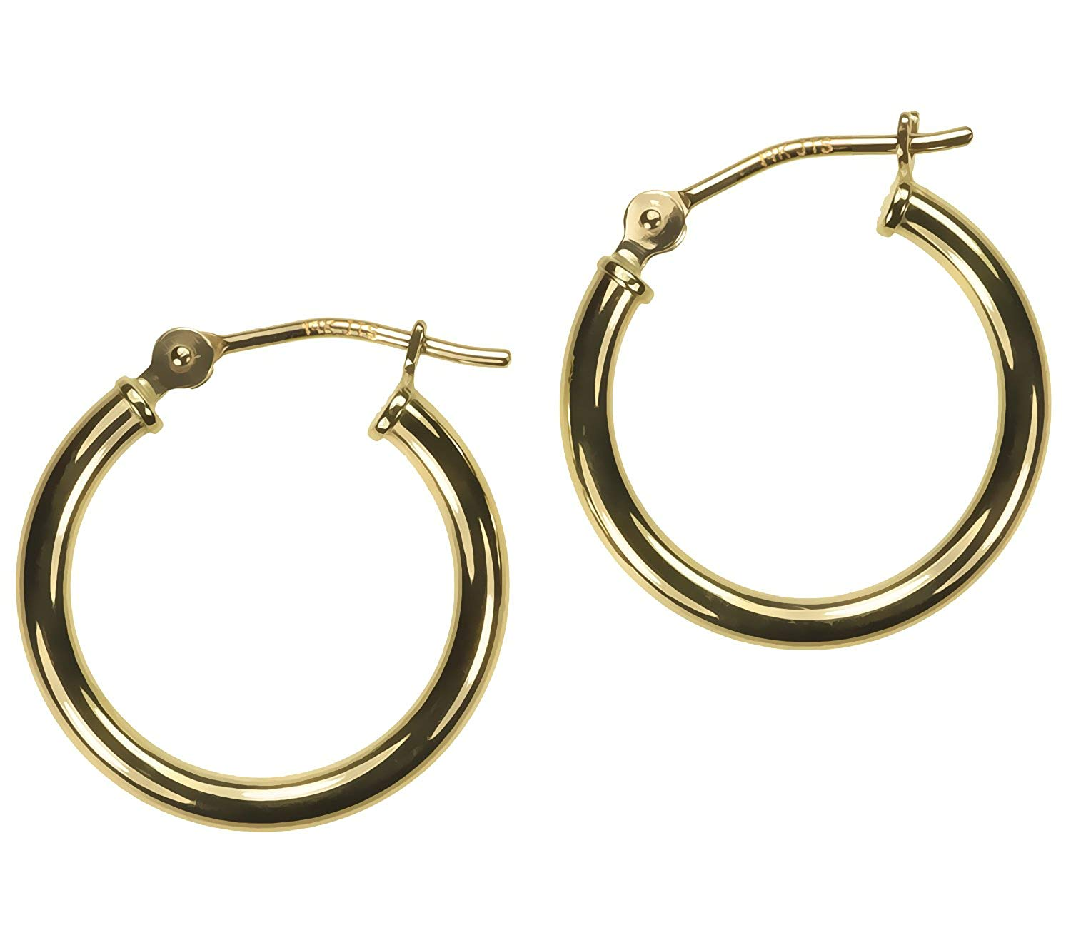 14K Gold 16 x 2mm Tube Hoop Earrings