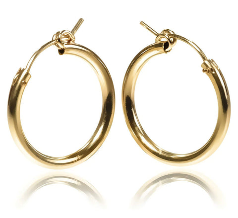 14k Gold Filled 22 x 2mm Tube Hoop Earrings