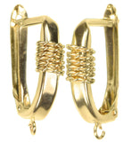 uGems 14K Solid Gold Euro Earring Hoop Wrap Wire Accent & Ring