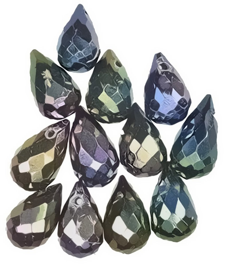 Black Tourmaline Titanium Briolette Beads Faceted Drops ~9mm (Qty=12)