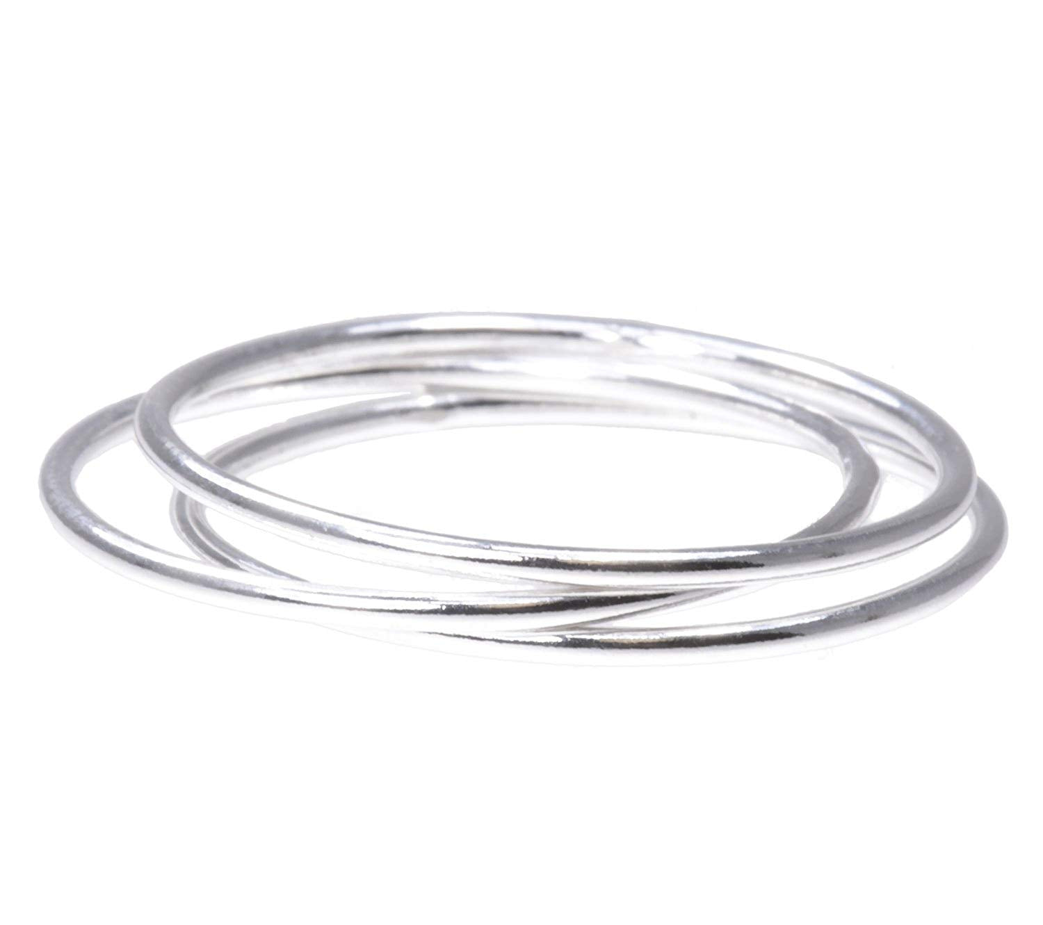 3 Sterling Silver Stacking Rings 1mm Round