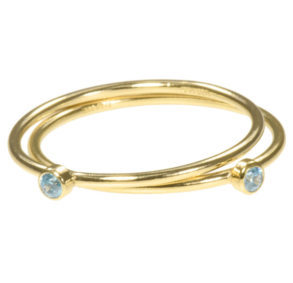 uGems 2 14K Gold Filled Swiss Blue CZ Stacking Rings Size 7