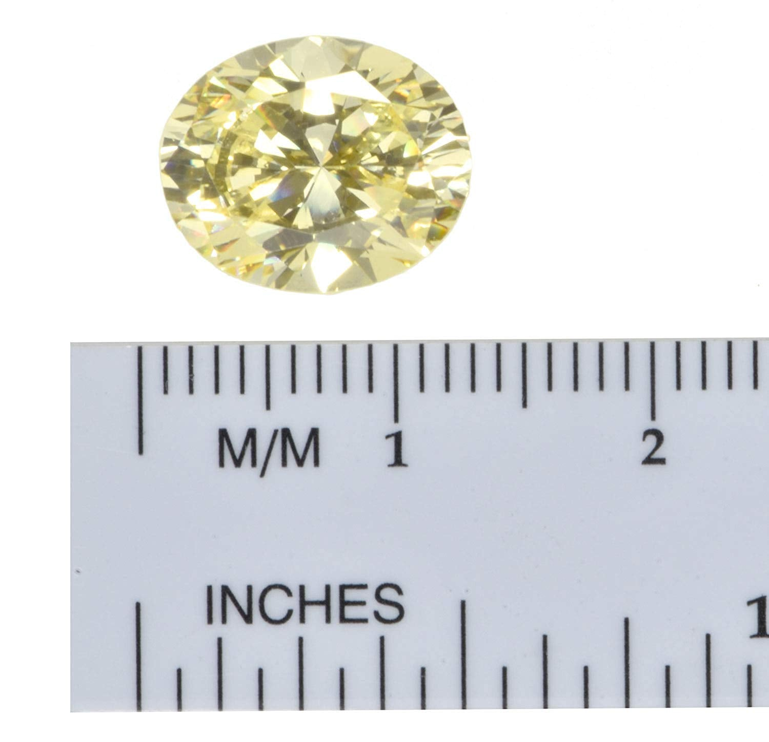 uGems Cz Canary Yellow Oval Unset Gemstone 12 X 10mm (1)