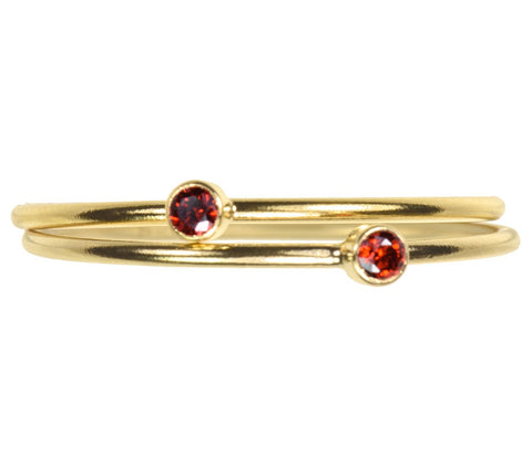 uGems 2 14K Gold Filled Garnet-Red-Color CZ Stacking Rings Size 8