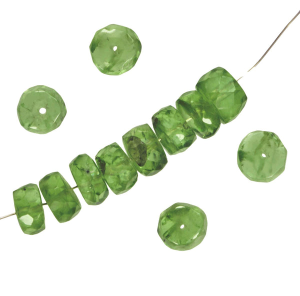 Peridot Faceted Rondelle Beads 5.5 to 6mm x 3mm (12)