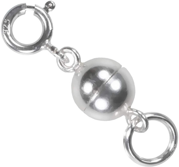 uGems Sterling Silver Converter Round Magnetic Clasp with Ring 8mm