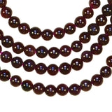 uGems Garnet ~3.8mm Round Bead Natural Genuine Strand Deep Red 15""