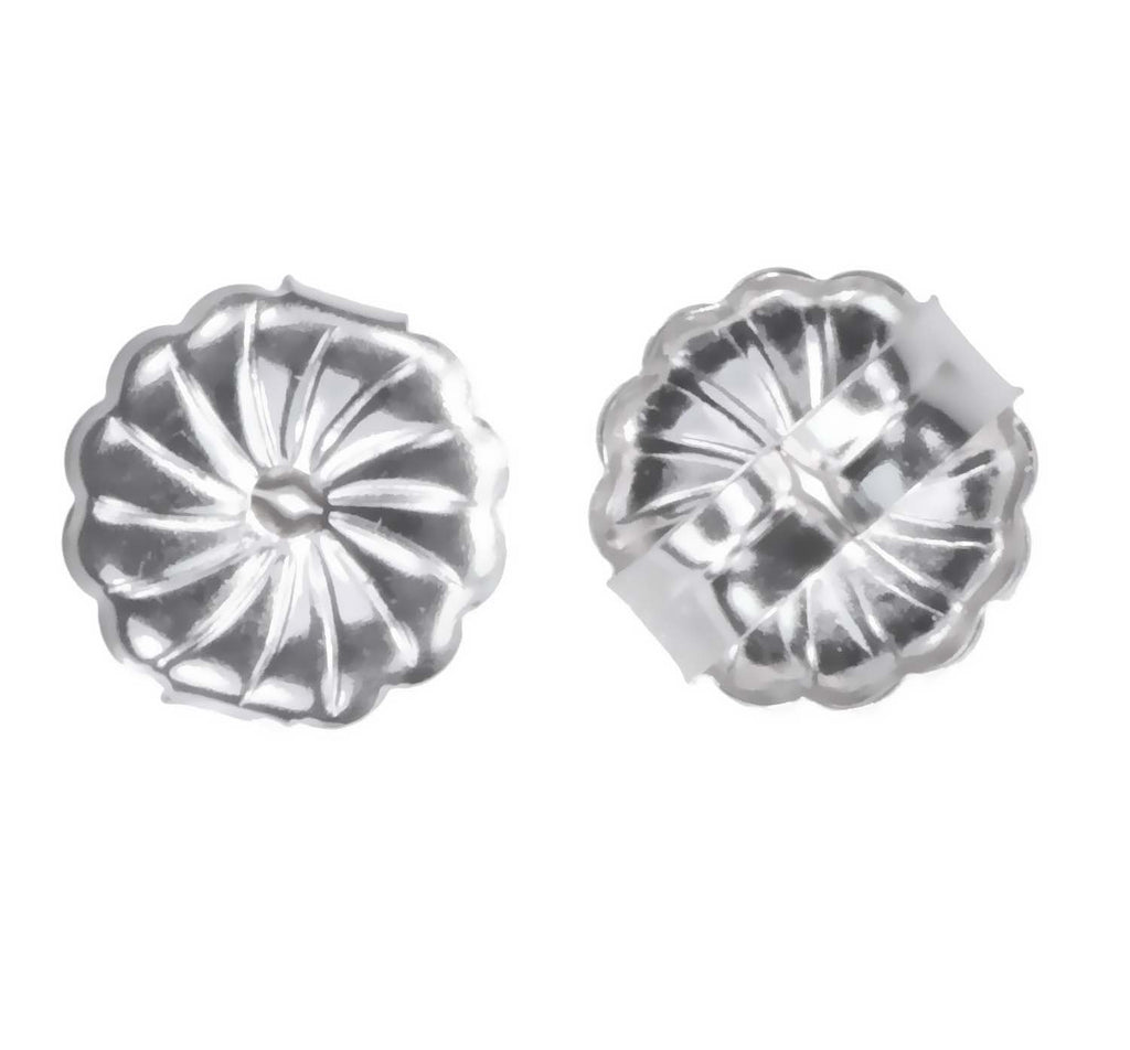 14K White Gold Swirl Earring Backs Premium Medium 7mm (1 Pair)