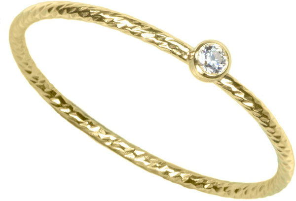 14K Gold Filled Sparkle Stacking Ring Bezel Set 2mm White CZ Size 8