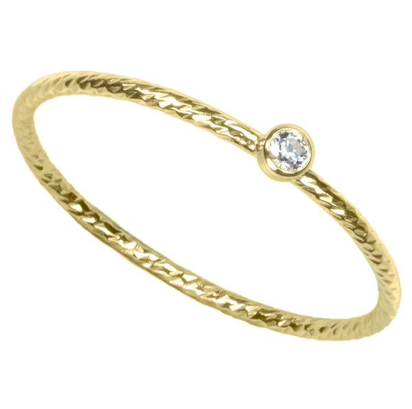 14K Gold Filled Sparkle Stacking Ring Bezel Set 2mm White CZ Size 7