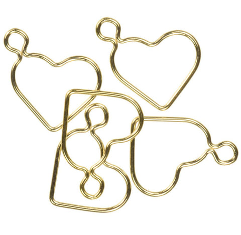 uGems 5 14K Gold Fill Heart Charm Ring 22ga with Loop 15mm
