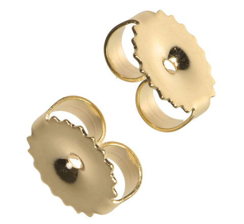 Solid 14K Yellow Gold Easy-Grip Earring Backs Large 7mm 1 pair