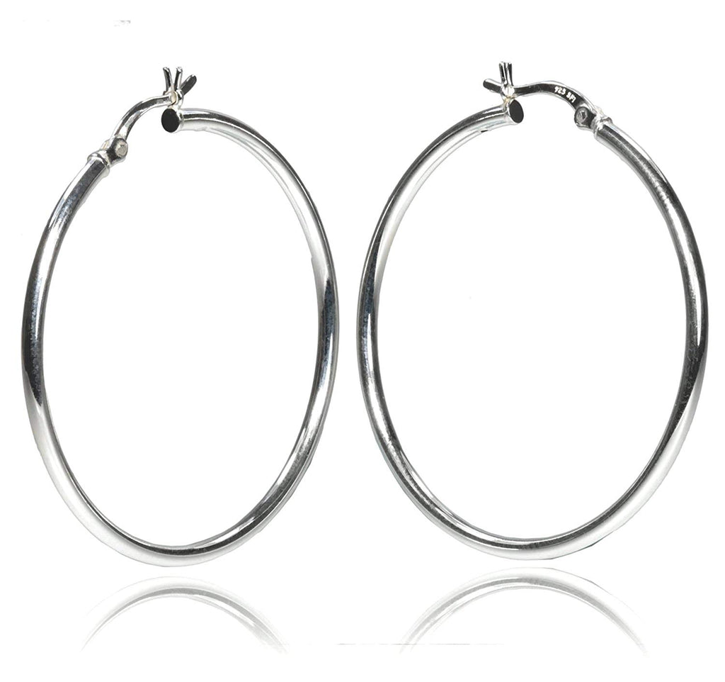 Sterling Silver 40 x 2mm Tube Hoop Earrings