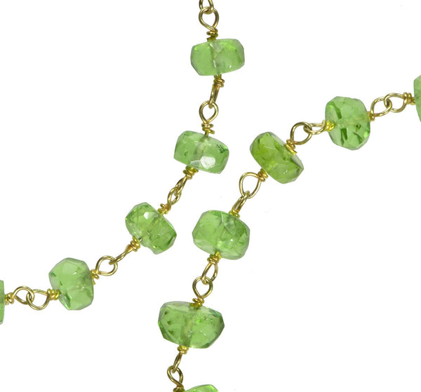uGems Peridot Faceted Necklace Gold-Tone Links 18 Inch