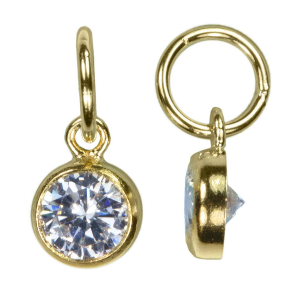 2 14K Gold Filled 4mm White CZ Drops w/Perp Extra Ring