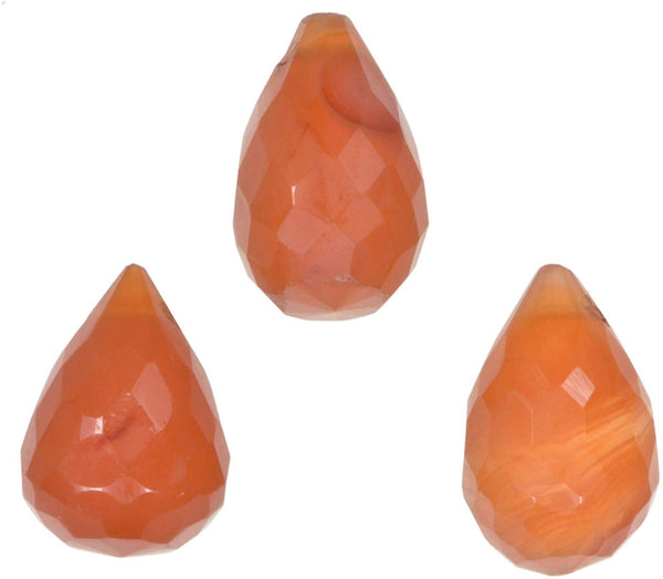 uGems Carnelian Briolette Drop Facet Gem Beads ~11mm (Qty=3)