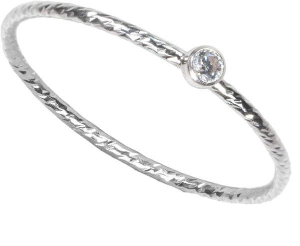 Sterling Silver Sparkle Stacking Ring Bezel Set 2mm White CZ Size 6