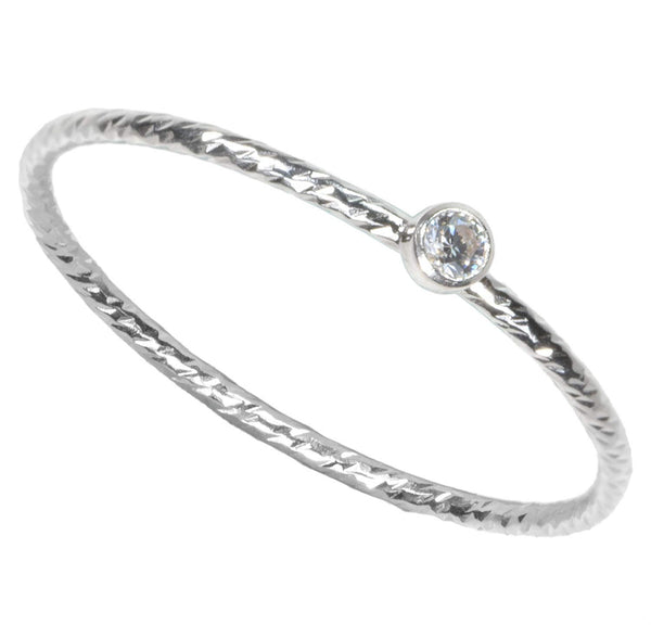 Sterling Silver Sparkle Stacking Ring Bezel Set 2mm White CZ Size 8